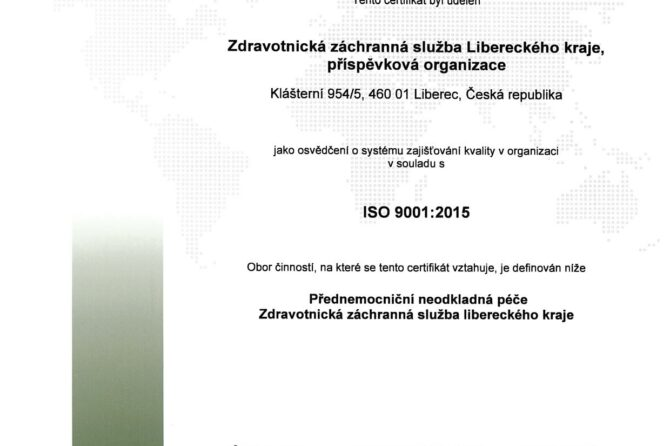 ZZS LK získala certifikát kvality ISO 9001:2015